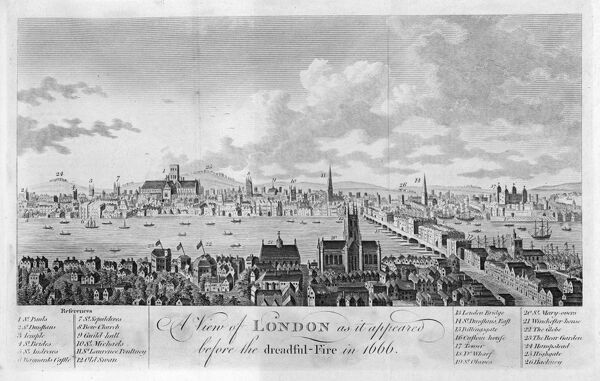 General view of London shortly before the great fire of 1666
