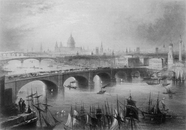 Looking across the Thames towards Saint Paul's, from the southeast, with London Bridge in the foreground