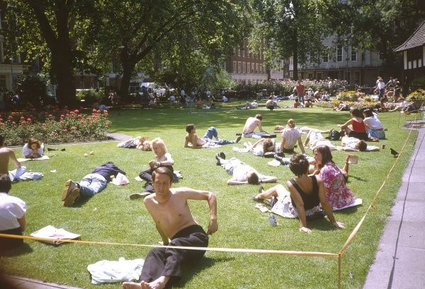 Londoners sunbathing in Soho Square during a heatwave, which lasted for several weeks. Date: 1989