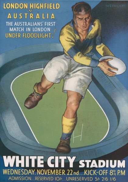 Advert for a rugby match between London Highfield and Australia, ('the Australians' first match in London - under floodlight!') held at White City Stadium on 22nd November 1933