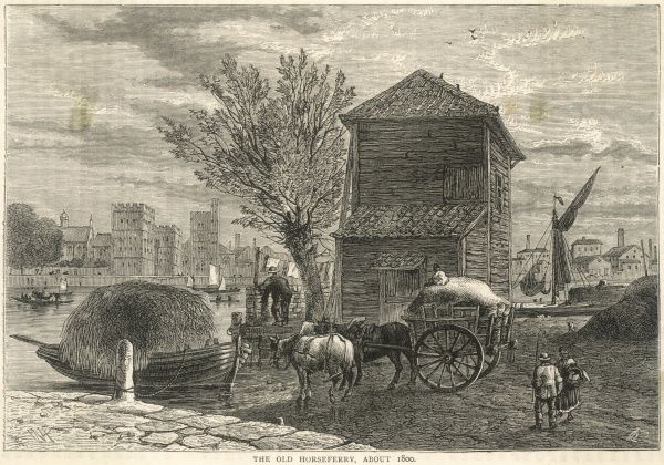 Ferrying horses and their loads across the Thames at the old Horse Ferry