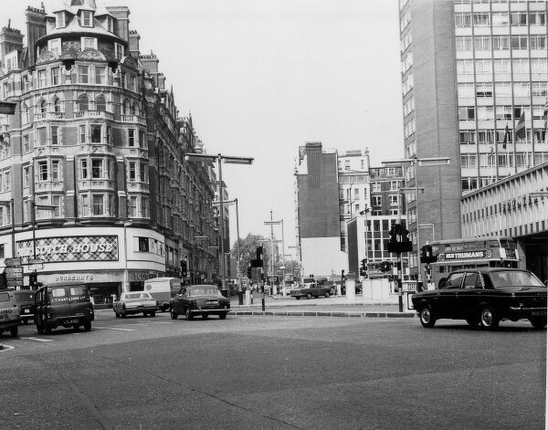 Knightsbridge, a well-to-do area of central London, with the famous Scotch House on the corner. Date: late 1960s