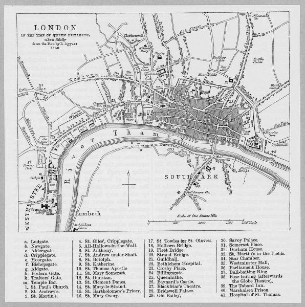 Map of London at the time of Queen Elizabeth I