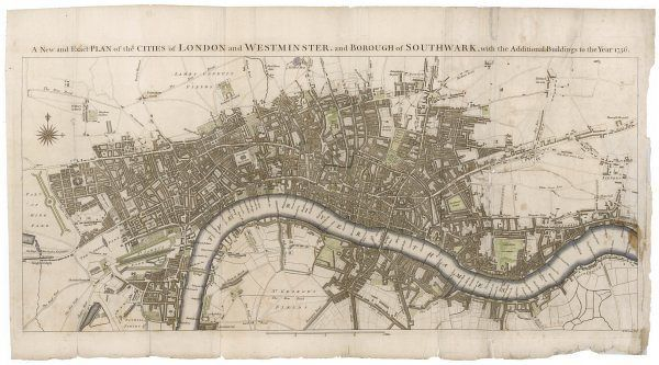 London still surrounded by fields, with Tyburn (note the gallows) and Buckingham House on the outskirts. Trafalgar Square doesn't exist, and Mayfair is still undeveloped