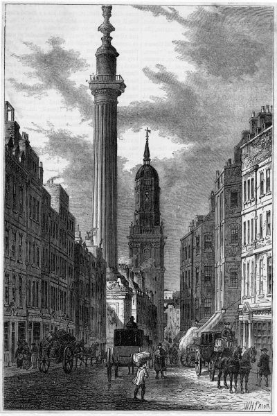Fish Hill and the Monument commemorating the Great Fire of London, 1666