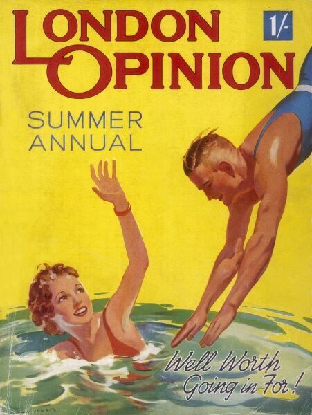 Bright and jolly front cover showing a female swimmer waving to her friend who decides to dive into the pool in a masculine fashion