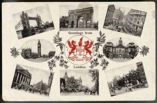 Postcard sending 'Greetings from London'. The coat of arms in the centre shows two dragons