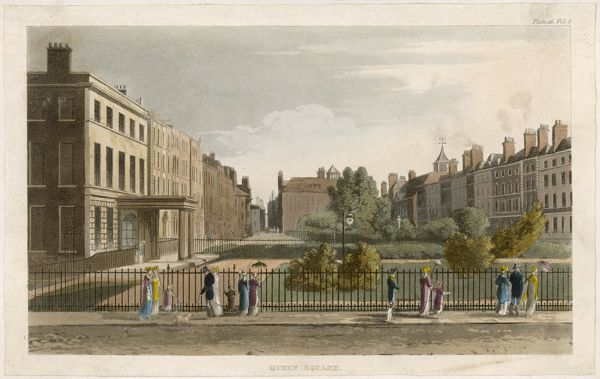 Queen Square, Bloomsbury, during its fashionable period - none of the original buildings now remain, alas