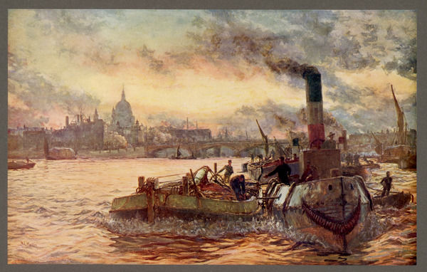 A view of London at dusk with St Paul's in the background. Wyllie is best known for his naval paintings and drawings. The title of this one is 'Towing Past the City&#39