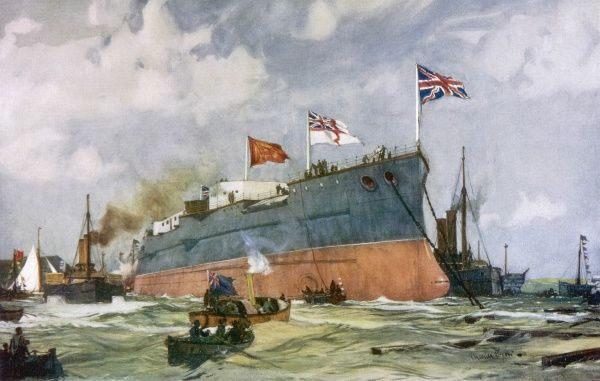 The 15,000 ton battleship is launched at Portsmouth