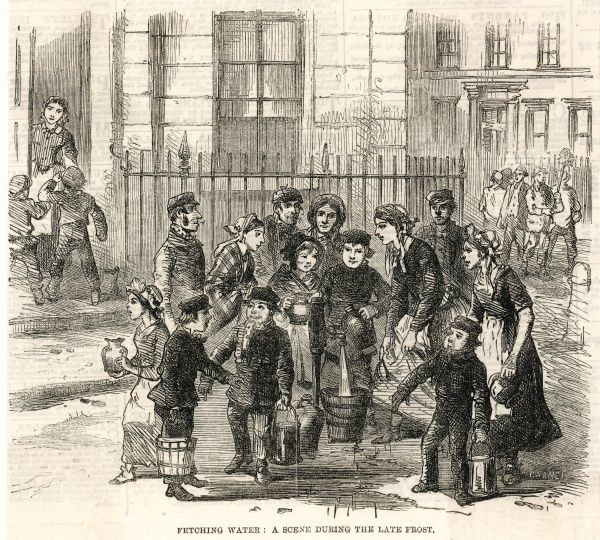 Fetching water from a stand- pipe in a London residential street during a frost : some households send their servant girls, others employ street boys offering their services