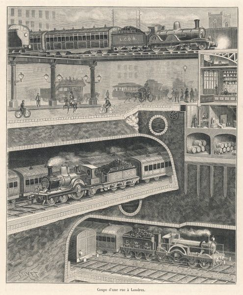 A typical London street, with buses and trams, cyclists and horseriders, while trains rattle overhead, two more roar underground and below them, two others rumble