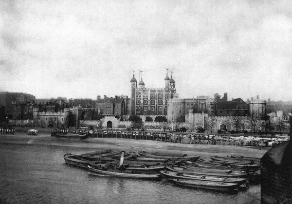 Photograph of the Tower from the South Bank. Date: 1890
