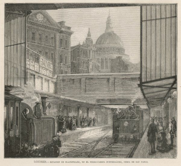 Blackfriars station, on the London Underground, with a glimpse of the old 'Times' office in Printing House Square, and St Paul's beyond
