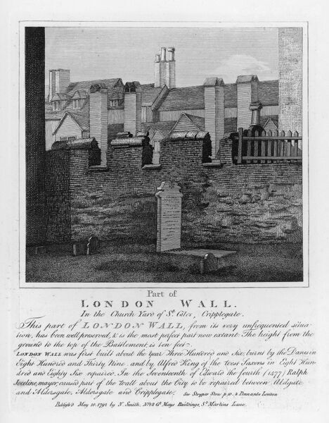 Part of London Wall, in the church yard of St. Giles, cripplegate