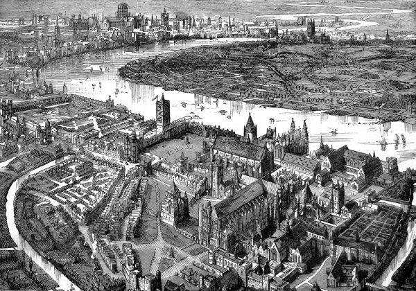 Engraving showing an aerial view of London (background), Westminster (foreground) and the River Thames in 1584