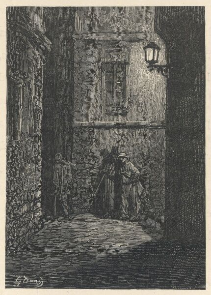 Three dubious characters meet in a dark and mysterious Whitechapel passage