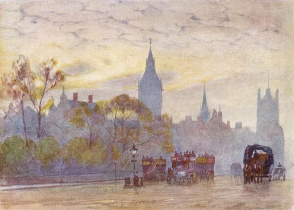 Whitehall and the Houses of Parliament. Date: 1905