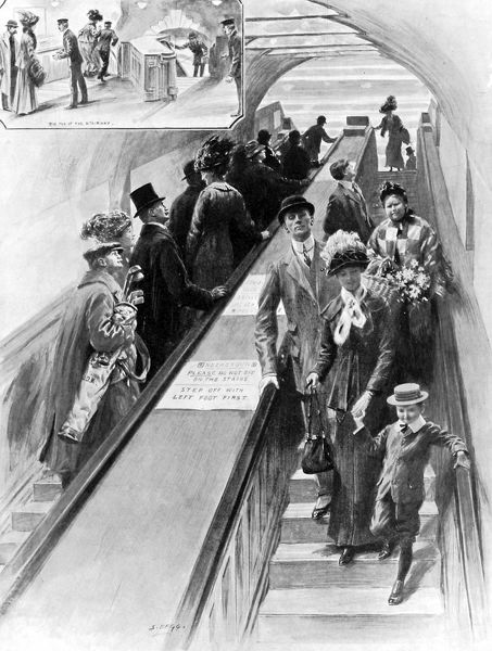 Illustration from 1911 of the first escalators ever installed on the underground, between the District and the Piccadilly line platforms at Earls Court station. At the time, they provided great entertainment for the passengers using them