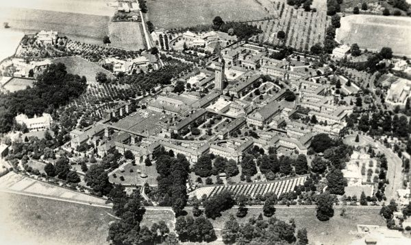Aerial view of Long Grove Asylum, opened in 1907 on Horton Lane near Epsom, Surrey. Long Grove was the tenth of London's County Asylums. In 1918 it was renamed Long Grove Mental Hospital, later shortened to just Long Grove Hospital