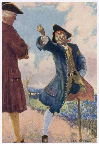 "Long John Silver shakes his fist and threatens Captain Smollett: ""Laugh, by thunder, laugh! Before an hour's out, ye'll laugh on the other side&quot"
