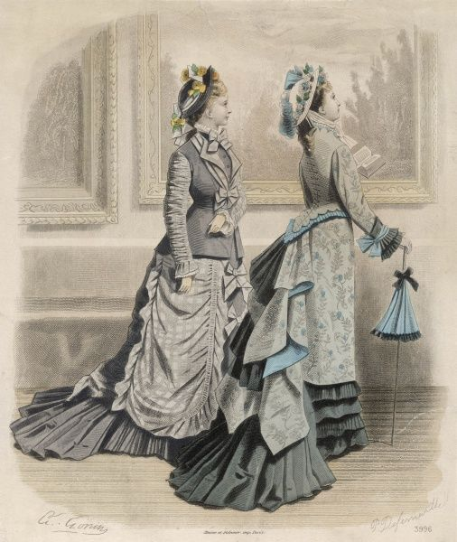 Dresses: cascading trains & jacket bodices (with revers & ruched sleeves or high collar, pointed basque & back-lacing like a corset) & over-skirts in plaid or floral prints