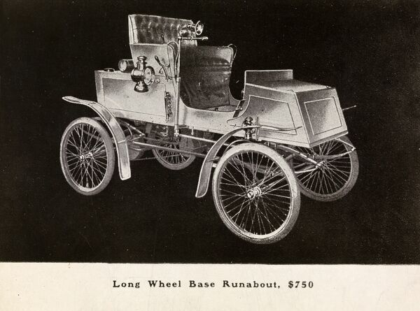 Automobile (Cars). Catalog advertisement for an automobile; Long Wheel Base Runabout, $750 in type below image