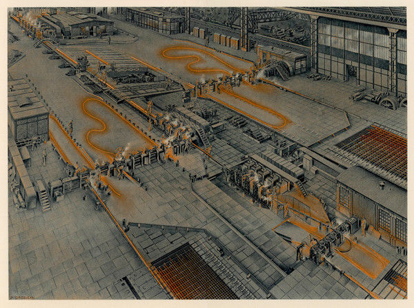 An overhead view of the rolling mills at Longwy Steelworks in France