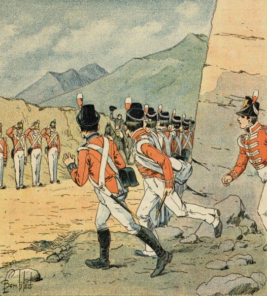 English soldiers on Saint Helena run to catch a sight of Napoleon
