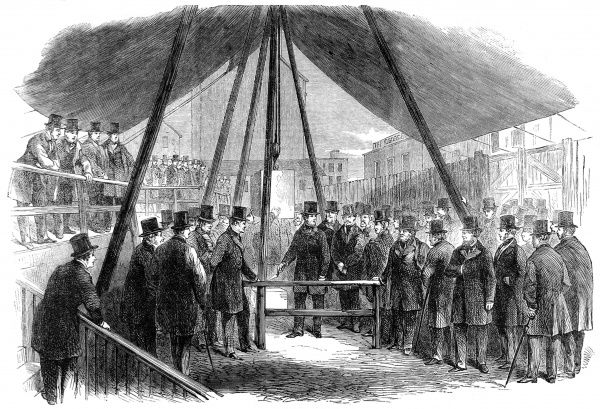 Engraving showing Lord Berners laying the foundation stone of the Agricultural Hall, Islington, North London, 1861