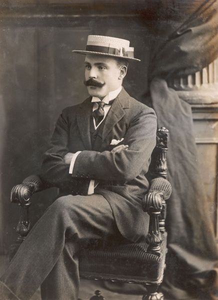 Lord Brooke (Leopold Guy Francis Maynard Greville, 1882-1928) who married Miss Elfrida Marjorie Eden on 29 April 1909 at St Margaret's Church, Westminster. He fought in the Boer War and was a war correspondent during the Russo-Japanese War