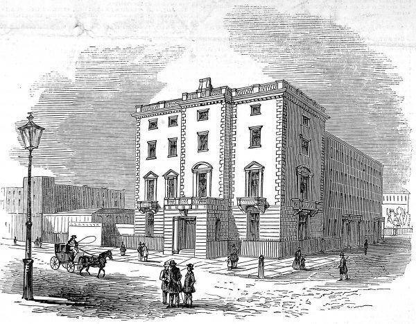 Engraving showing the exterior of Lord John Russell's House, Chesham Place, London, 1845