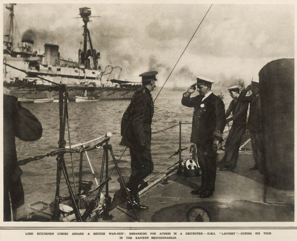 Lord Kitchener (1850-1916) boarding the Destroyer H