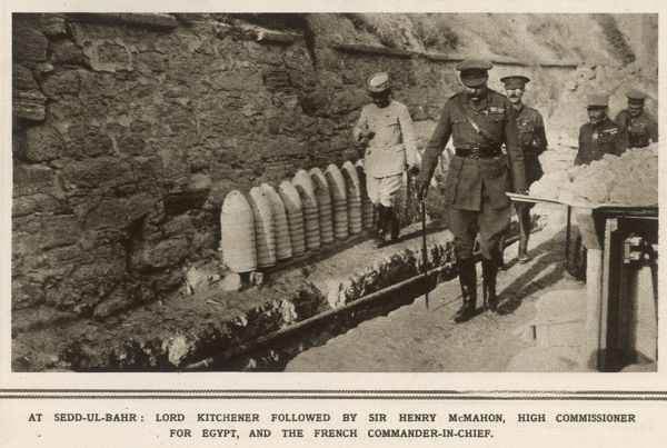 Lord Kitchener (1850-1916) inspecting Allied positions at Sedd el-Bahr on the southern tip of the Gallipoli peninsula in the eastern Mediterranean sea. He is accompanied by Sir Henry McMahon, High Commissioner for Egypt
