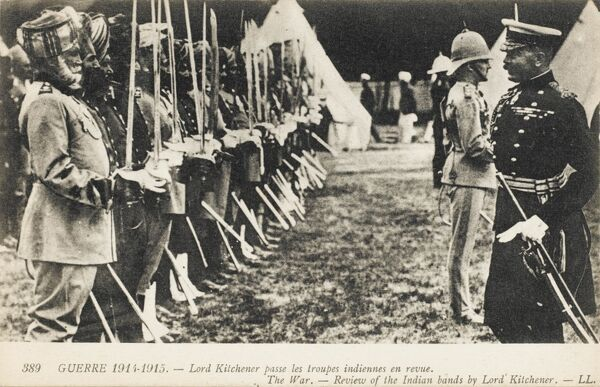 Field Marshal Horatio Herbert Kitchener, 1st Earl Kitchener, (1850 - 1916), a British Field Marshal, diplomat and statesman, reviewing Indian troops - World War one era. 800,000 Indian troops fought in WW1 - nearly 48,00 were killed or missing - 65