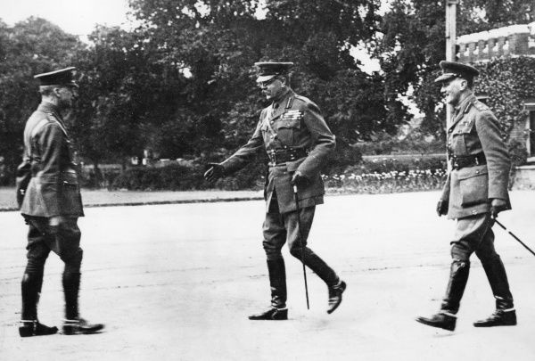 Lord Herbert Kitchener (1850-1916) (centre) with two other officers at the Royal Military Academy, during the First World War. Date: circa 1914-1916