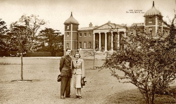 Lord and Lady Jersey (George Child Villiers, 9th Earl of Jersey and his second wife, American actress Virginia Cherrill) in Osterley Park in the suburbs of west London. Lord Jersey is home on leave and is in uniform