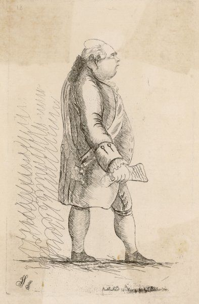 FREDERICK, LORD NORTH, 2nd earl of Guilford Statesman, caricatured a portly and pompous (which he probably was !)