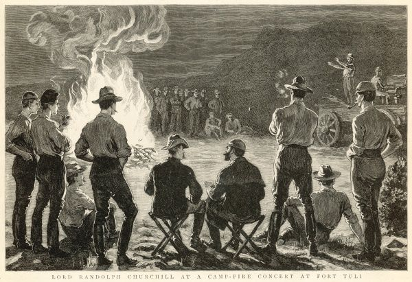 Engraving showing Lord Randolph Churchill and a group of British Army officers at a camp fire concert at Fort Tuli, South Africa, 1891