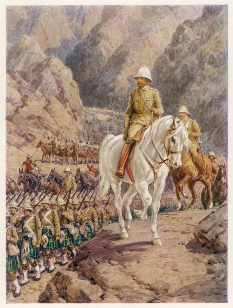 Lord Roberts on the march to KANDAHAR, where the British will inflict a decisive victory on the Afghans, dispersing their forces completely