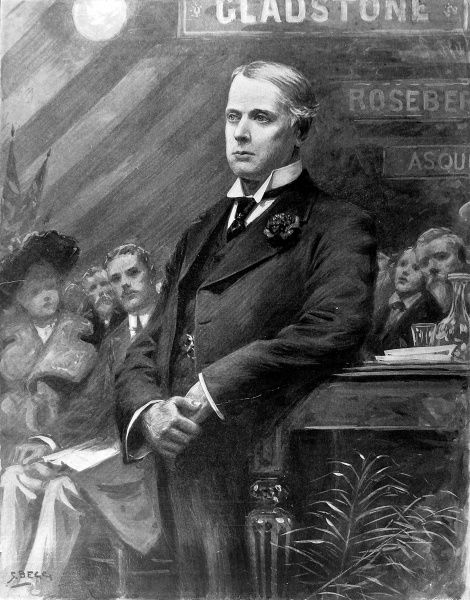 Illustration showing Archibald Philip Primrose, the 5th Earl of Rosebery (1847-1929), delivering his speech to the Liberal Party at Chesterfield, 16th December 1901