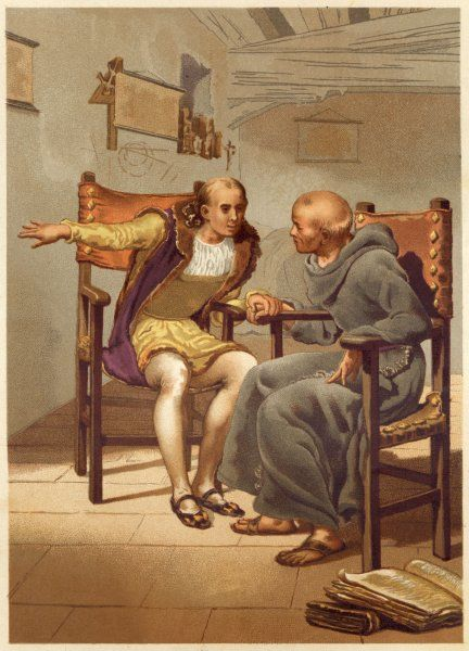 Columbus discusses his plans with Father Marchena