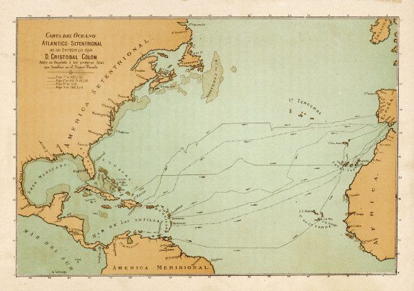 A map showing the travels of Columbus off the American mainland
