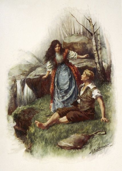 Lorna Doone meets John Ridd by a stream, when he is fishing for loache. Date: First published: 1869