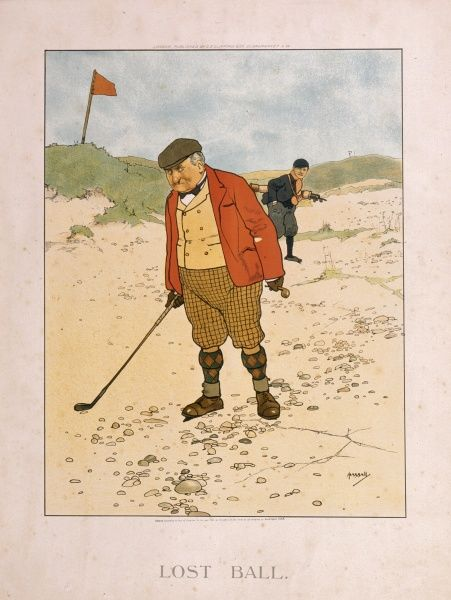 Illustration by John Hassall depicting a grumpy looking golfer searching for a lost ball in a rather stoney and sandy bunker, along with his caddy