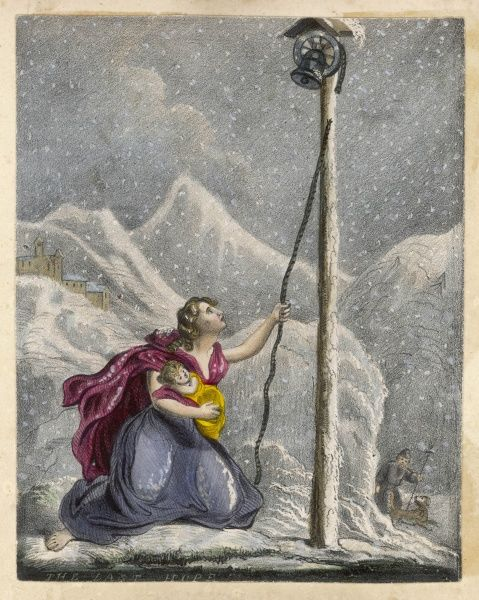 A mother with her child, lost on the St Bernard Pass, rings the bell which will summon help from the monks and their dogs