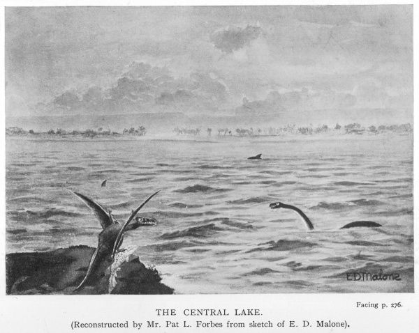 The central lake, with plesiosaurs, pterodactyls and much else beside