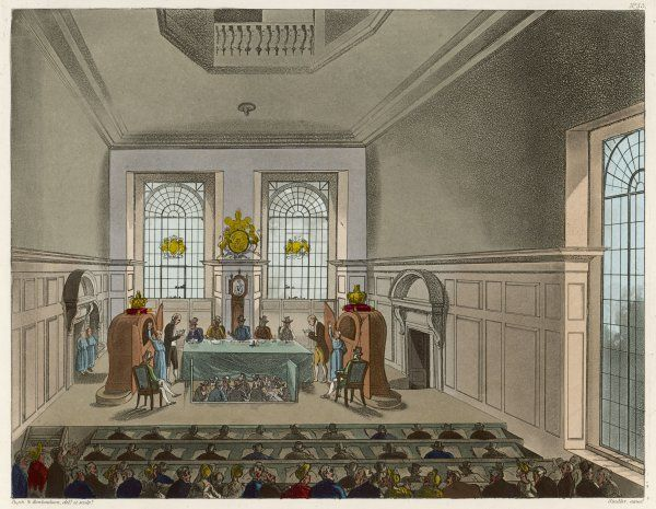 Drawing the lottery in Coopers Hall. An audience gathers to witness the draw