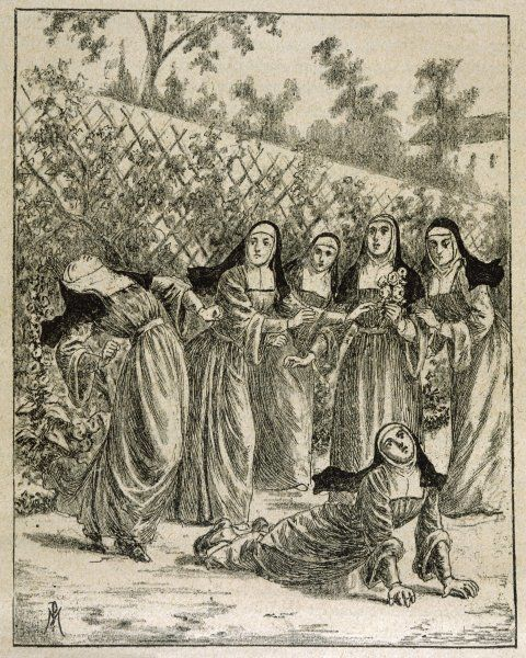 The nuns of the convent of Saint-Ursule accuse Urbain Grandier of throwing a bewitched rose-sprig into their garden, causing them to be victims of his lust