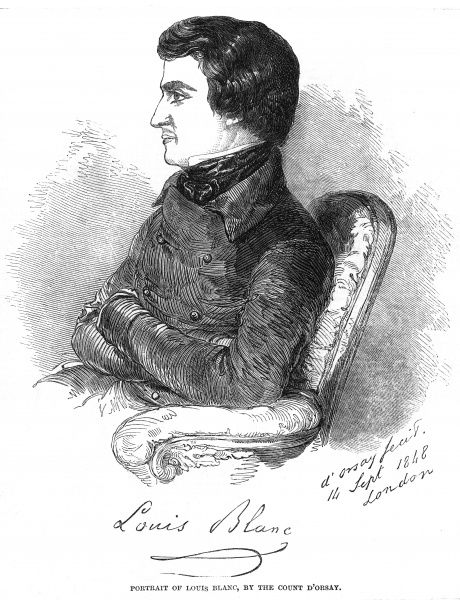 LOUIS BLANC - French socialist journalist and statesman, drawn in September 1848 when he has taken refuge in England, where he will remain until 1870. Date: 1811 - 1882